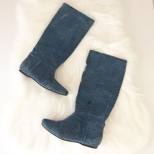 SUEDE Knee High Blue Cut Out Boots Tall Flat